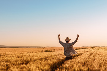Proud happy victorious wheat farmer with hands raised in V Wall mural