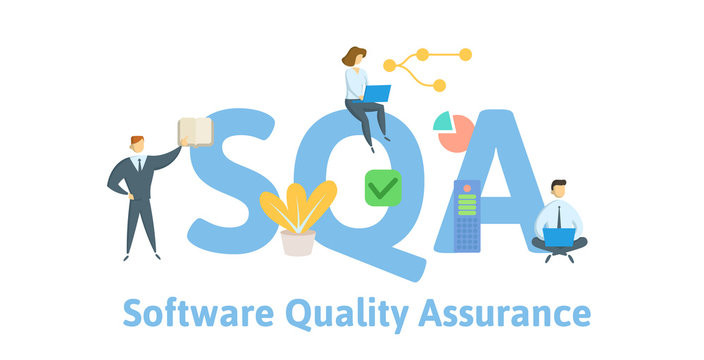 SQA, Software Quality Assurance. Concept with keywords, letters and icons. Colored flat vector illustration. Isolated on white background.