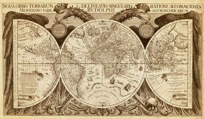 Old map of the world, printed in 1630