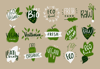 Fototapeta Vegan, fresh, bio, raw, eco, organic and healthy logos and icons, labels, tags, badges. Hand drawn vector set of fruits and vegetables. Colored trendy illustration. Flat design. Everything is isolated obraz