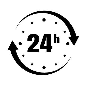 Loop arrow icon symbol Open 24 hours.
