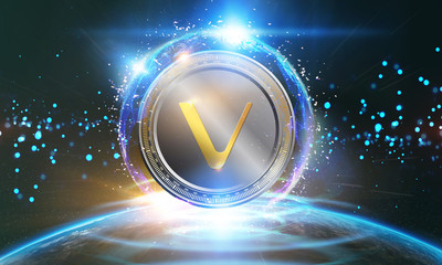 Crypto-currency, Vechain internet virtual money. Currency Technology Business Internet Concept.