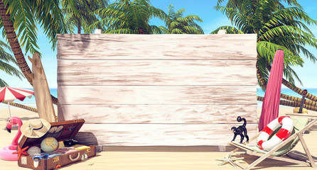 Empty white wooden board on the beach, Summer time background 3D Rendering