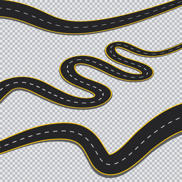 Winding road isolated transparent background.