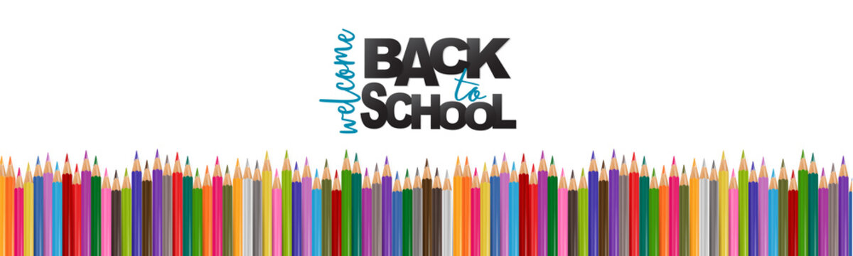 Welcome back to school banner background with a pile of colorful pencils. Header for website, magazine, advertisement, sale, shopping. Realistic vector illustration.