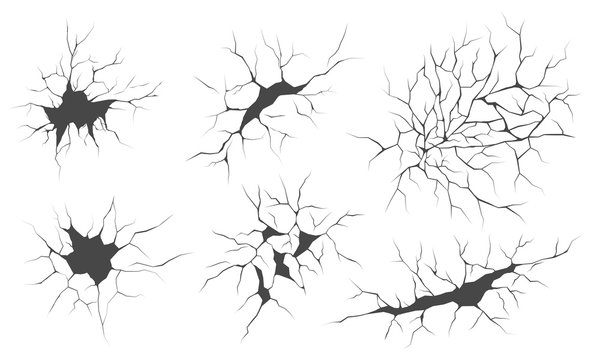 Cracks, vector illustrations set