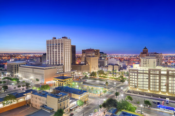 Fototapete - El Paso, Texas, USA Downtown Skyline