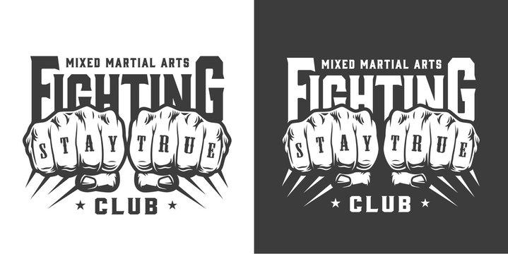 Vintage fight club monochrome logo