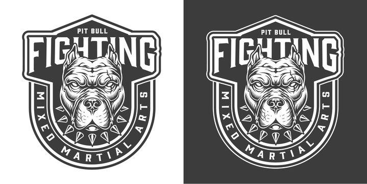 Vintage fighting monochrome badge