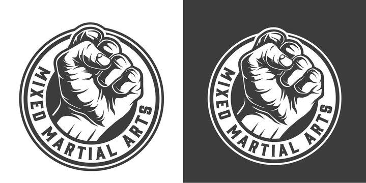 Monochrome fight club round logotype