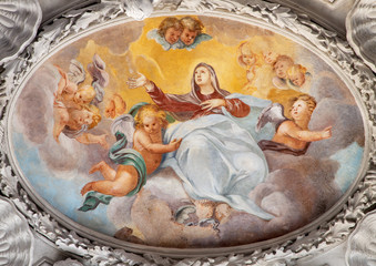 Wall Mural - COMO, ITALY - MAY 10, 2015: The baroque fresco of Assumption of Virgin Mary in side nave of church Chiesa di San Agostino by Morazzone from 16. cent.
