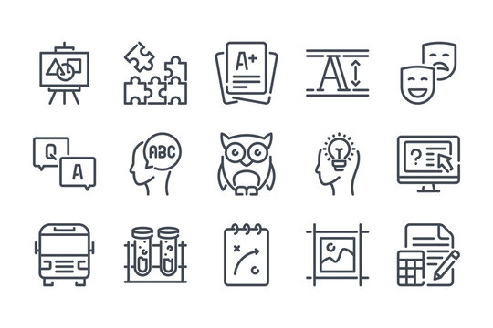 Education related line icon set. Learning linear icons. School outline vector signs and symbols collection.