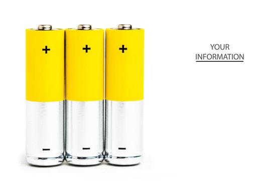 AA alkaline batteries on white background.