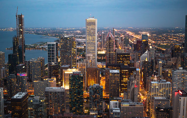 Chicago from above - amazing aerial view in the evening - travel photography