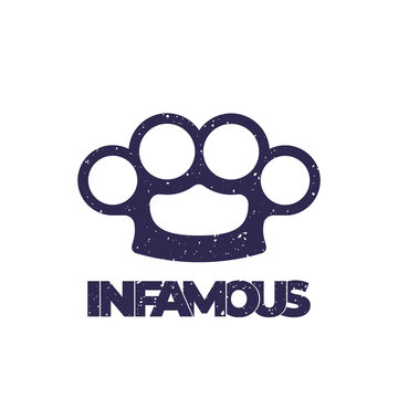 t-shirt print with knuckles, infamous