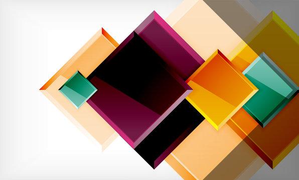 Bright colorful square shape blocks geometrical background