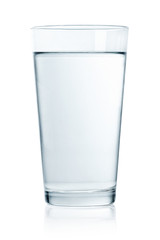 Glass of still water on white background