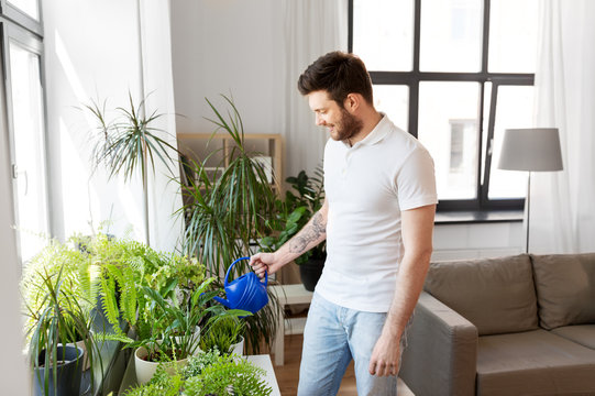 people, nature and plants care concept - man watering houseplants at home