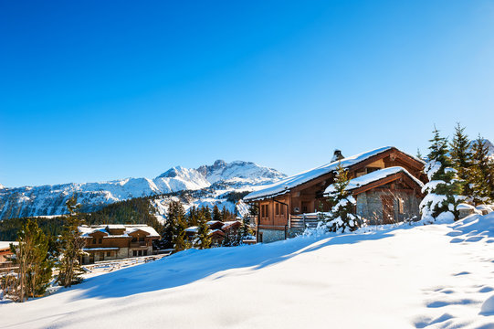 Courchevel ski resort in Alps mountains, France. Winter landscape. Famous travel destination