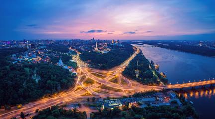 Wall Murals Kiev Night city panorama of the Kiev city with the Paton Bridge and the Dnieper River. Ukraine