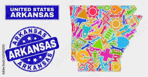 Mosaic service Arkansas State map and Arkansas seal stamp ...