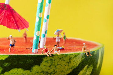 miniature people in swimsuit on a watermelon Wall mural