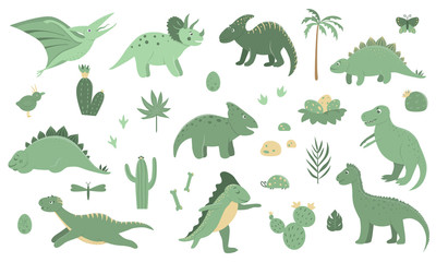 Vector set of cute green dinosaurs with palm trees, cactus, stones, footprints, bones for children. Dino flat cartoon character background. Cute prehistoric reptile illustration..