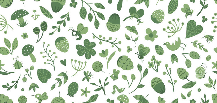 Vector seamless pattern of cute flat woodland insects and plants. Forest elements repeating background. Beautiful childish design for stationery, textile, wallpapers. Funny creatures ornament.