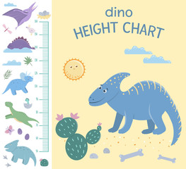 Vector dinosaur height chart. Picture with prehistoric dino elements for children. Measurement Scale with cute reptiles..