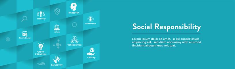Social Responsibility Icon Set & Web Header Banner