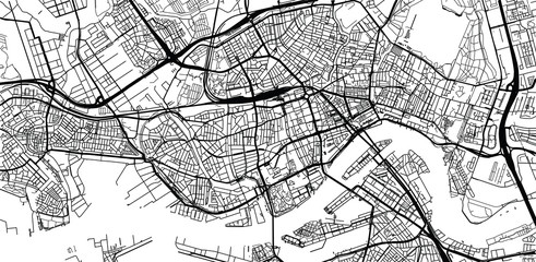 Spoed Fotobehang Rotterdam Urban vector city map of Rotterdam, The Netherlands