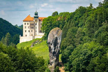 Fototapeta Castle on the hill in Ojcow National Park Poland - Pieskowa Skala, Hercules's mace rock  obraz