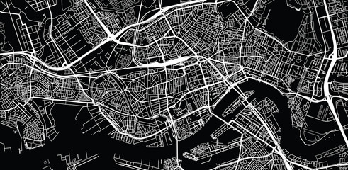 Poster Rotterdam Urban vector city map of Rotterdam, The Netherlands
