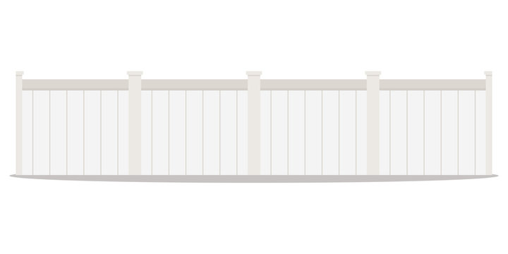 Vector flat design cartoon style illustration of a long row of white wood street picket fences isolated on white background. Home exterior element.