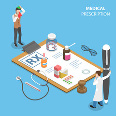 Isometric flat vector concept of prescription form, medical service, doctor signs a RX for a patient.