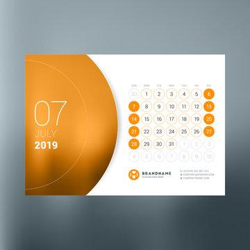 Calendar planner template for July 2019. Design print vector template