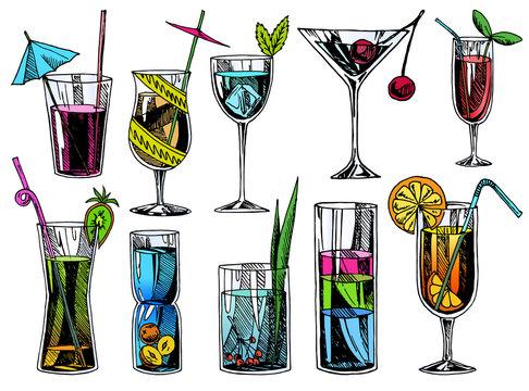 Hand drawn cocktails. Vintage glasses with liquors and alcoholic drinks, summer drinks sketch menu. Vector tropical vintage beverages illustrations set.