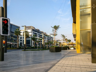 Dubai city walk streets, outdoor stores, cafes and residential buildings Fotomurales