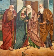 TAORMINA, ITALY - APRIL 9, 2018: The trenaissance painting of Visitation in Duomo (San Pancrazio) by Antonino Giuffre (1457).