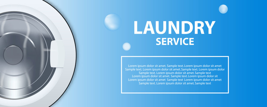 Laundry service banner or poster. Washing machine drum 3d realistic illustration. Front view, close-up, closed door