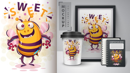 Crazy bee - mockup for your idea