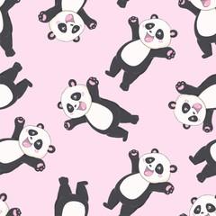 Fotobehang Beren Cartoon Seamless Panda Pattern