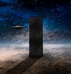 Fototapete - Alien Craft Approaches Monolith