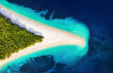 Croatia, Hvar island, Bol. Panoramic aerial view at the Zlatni Rat. Beach and sea from air. Famous place in Croatia. Summer seascape from drone. Travel - image