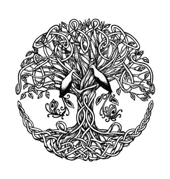 Celtic tree with roots and birds