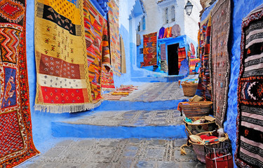 Fotorolgordijn Marokko Typical beautiful moroccan architecture in Chefchaouen blue city medina in Morocco