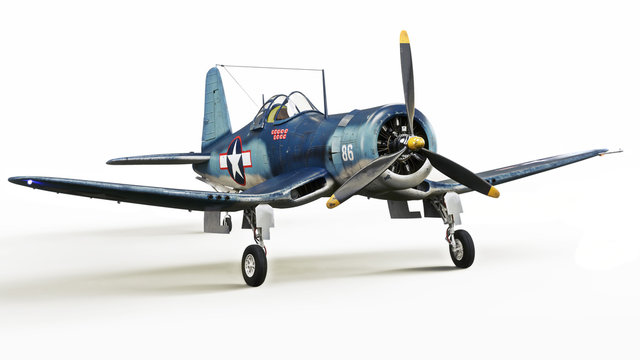 Vintage allied aircraft fighter plane on a white isolated background. 3d rendering