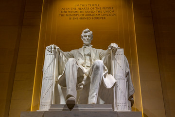 View of Lincoln statue in the Lincoln Memorial at night, Washington D.C.