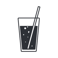 Glass with water and a straw with bubbles. Silhouette icon in flat style.