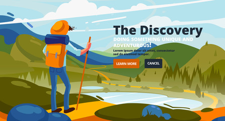 Discovery banner. Around the world. Concept of discovery, exploration, hiking, adventure tourism.